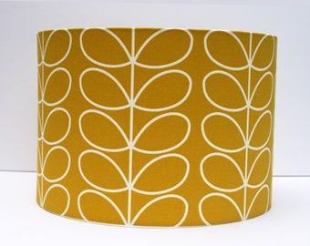 Linear stem print lampshade in dandelion/mustard