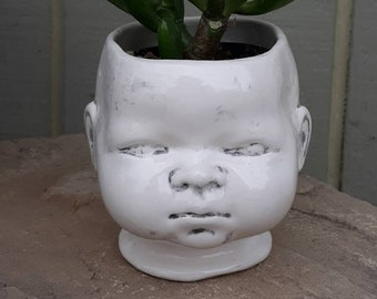 Stained Baby Head Planter. Doll Head Planter. Creepy Doll Head Planter. Cute Doll Head Planter. Funky and Fun Doll Head.