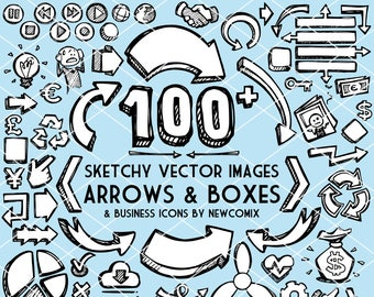 100+ Sketchy Vector Images: Arrows, Boxes and Business Icons - Royalty Free Clip Art