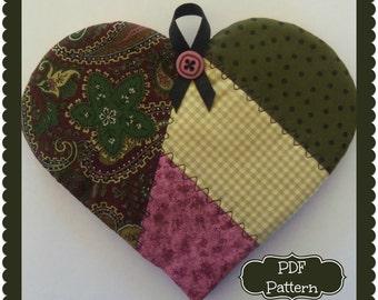 PDF Pattern:  Crazy Quilt Heart Potholder