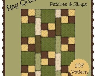 PDF Pattern:  Patches & Strips Rag Quilt ~ Lap Size