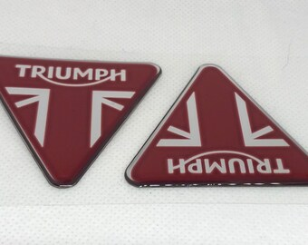3D Domed Stickers Triumph Badge 80x70mm Silver Red. 2pcs