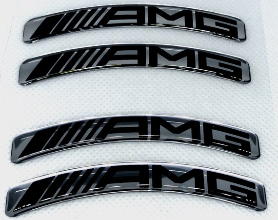 4pcs X Mercedes Amg Aufkleber 77x10mm Silber Logo Gebogen 3d Domed Aufkleber