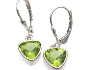 Genuine Peridot Earrings Sterling Silver Gift Under 40 Gift for Her Gemstone Jewelry Handmade Peridot Earrings Gift August Birthstone Bali