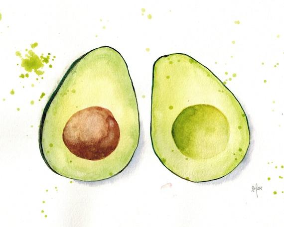 Avocado Print Original Watercolour Print Kitchen Decor Etsy