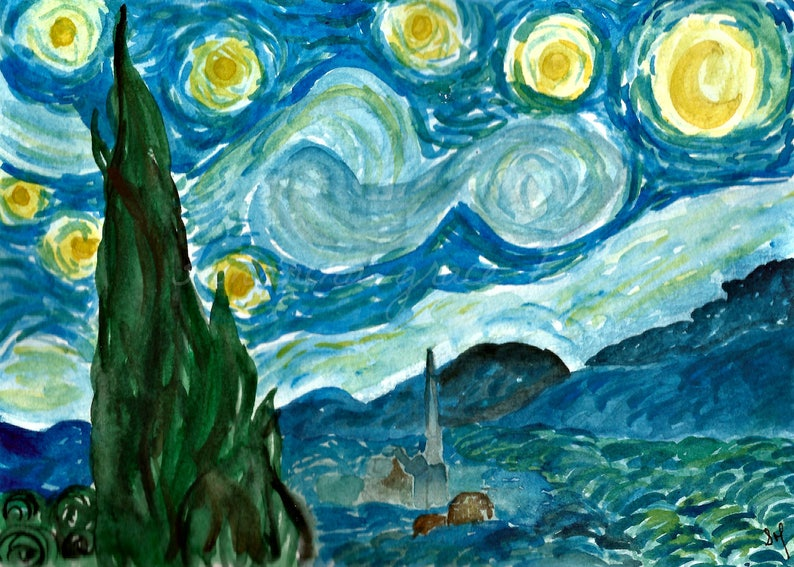 Starry Night Watercolour Vincent Van Gogh Original Watercolour Painting Starry Night Gift 5x7 Painting Gift For Women Wall Art Decor