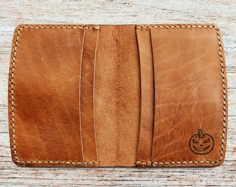 halloween wallet halloween gift personalized monogrammed leather wallet front pocket wallet engrave wallet gift leather slim card wallet