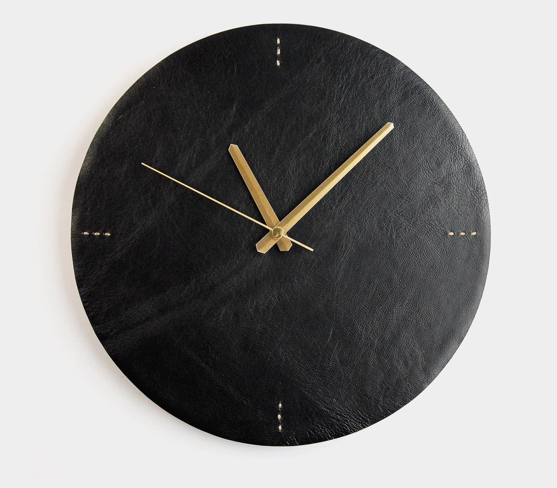 Modern Clock Black Leather Wall Clock Modern Wall Clock