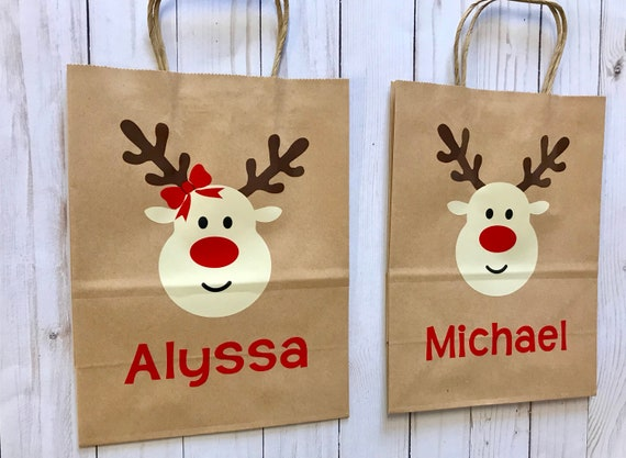Christmas Gift Bags For Kids.Red Nosed Reindeer Personalized Christmas Gift Bag Custom Kids Gift Bag Light Up Your Little Ones Christmas With A Customized Gift Bag