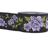 10m Large jacquard embroidered braid - flower pattern - width 50mm 35mm 25mm