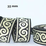to order!  10 m Ribbon embroidered Jacquard * waves pattern * 35 mm width