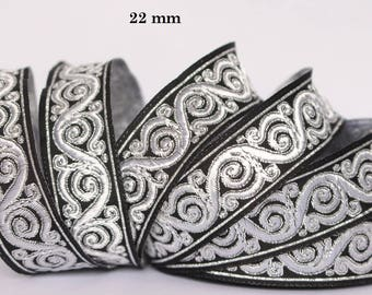 10 m Ribbon embroidered Jacquard * medieval * 22 mm wide