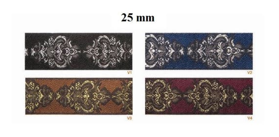 10 m Galon embroidered jacquard width 25 mm