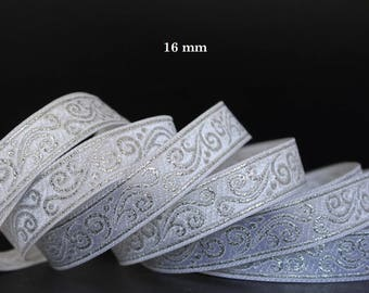 10 m Ribbon embroidered Jacquard * medieval * 16 mm wide