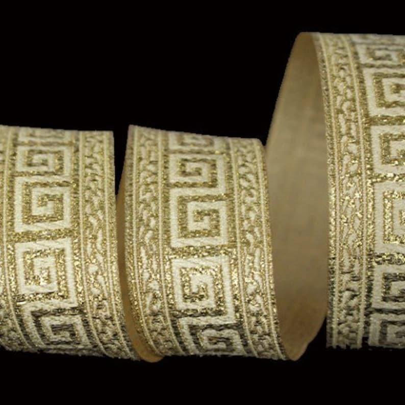 10 m Jacquard embroidered Galon /' Greek pattern/' width 35mm  50mm