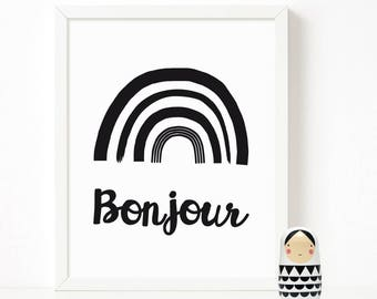 Bonjour print, Kids room Decor, Scandinavian Print, Nursery Decor, Nursery Art, Kids Poster, Printable Quote