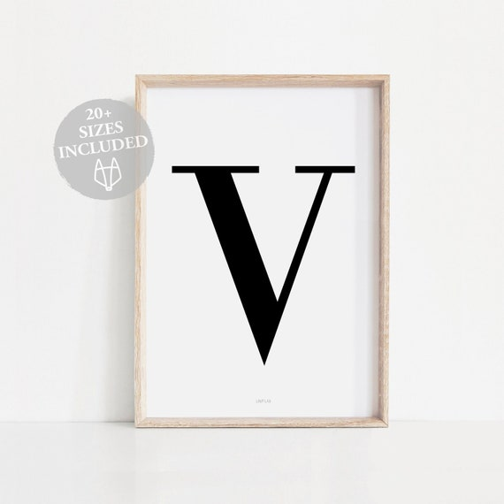 image regarding Letter V Printable referred to as Letter V Decor, Typography wall decor, Letter V artwork, V money artwork, Printable letter artwork, V wall decor, V poster, V wall print, V printable