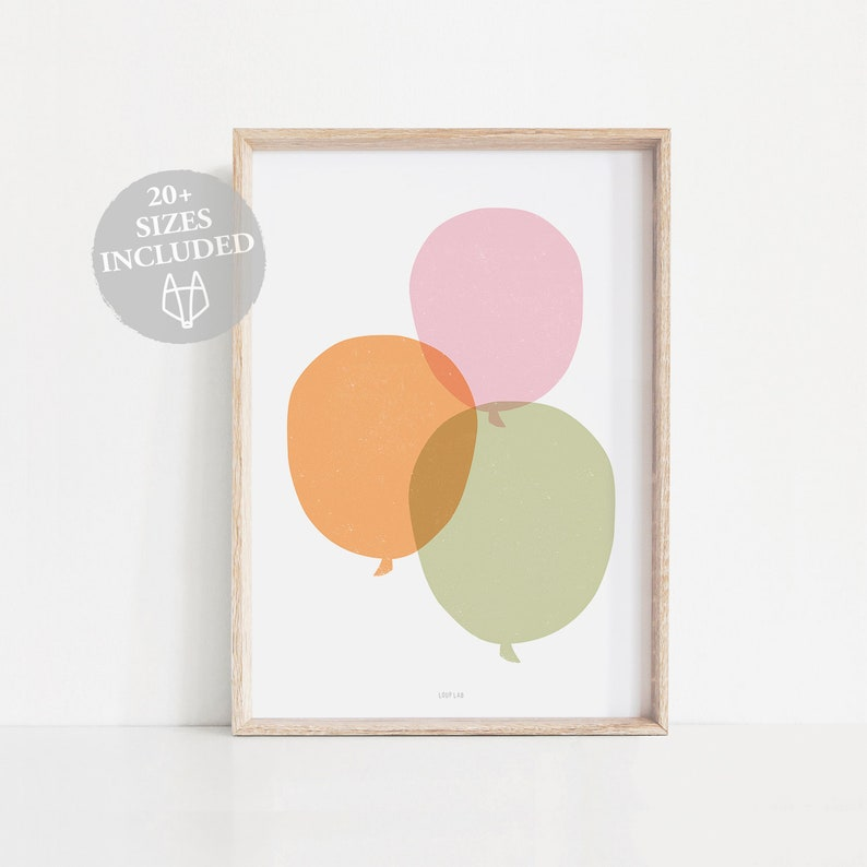 image about Balloons Printable named Balloons print wall artwork, Balloons printable poster, Nursery wall decor, Gals place wall artwork, Small lady nursery decor, Scandi nursery decor