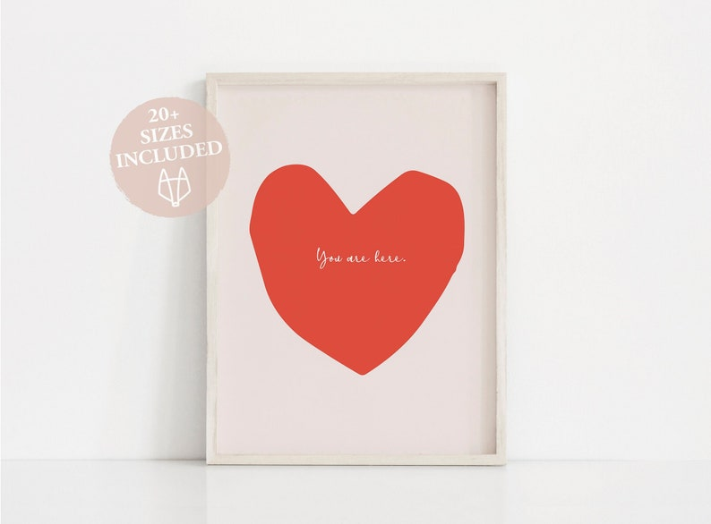 photograph regarding Valentine Heart Printable known as Center print, On your own are listed here print, Enjoy printable Valentine working day print, Valentine print reward Intimate wall artwork Pink print, Valentine center print