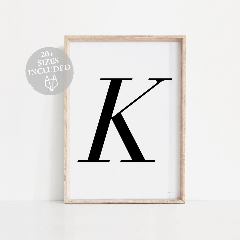 photo regarding Letter K Printable called Letter K printable artwork K print, Letters Artwork Monochrome K Poster, Letter K wall artwork Letter K poster Typography print, Letter K Black letter K