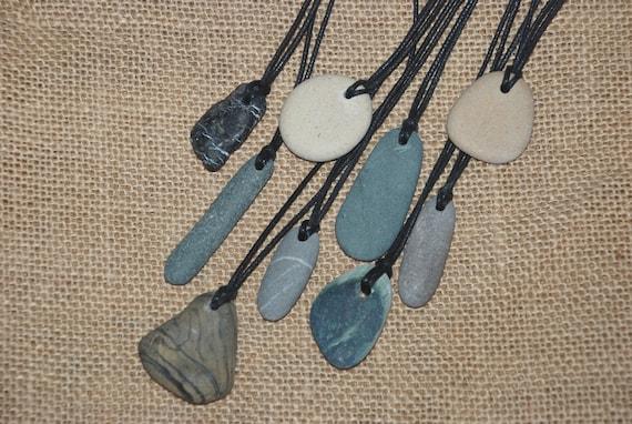 natural beach pebble pendant eco stone jewelry rock necklace men jewellery Simple Unisex Necklace gender neutral beach pebble pendant