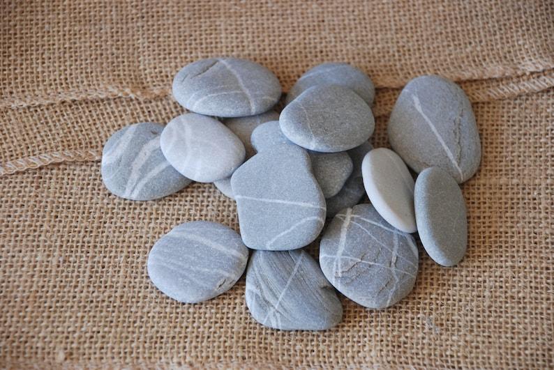 15 Striped Beach Stones 20-50mm lucky stones strip line puzzle meditation yoga zen mandala pattern wishing pebbles crafts DIY Art stones