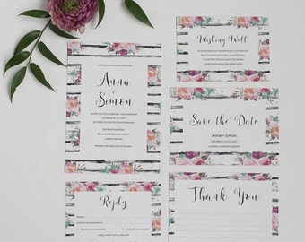 Rustic Floral Wedding Invitation and RSVP - Pink and Black Wedding Invite - Modern Wedding Invitation - Rustic Wedding Stationery