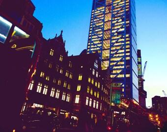 London photography, street photography, Liverpool Street, fine art photography, skyscraper, blue sky, sunset