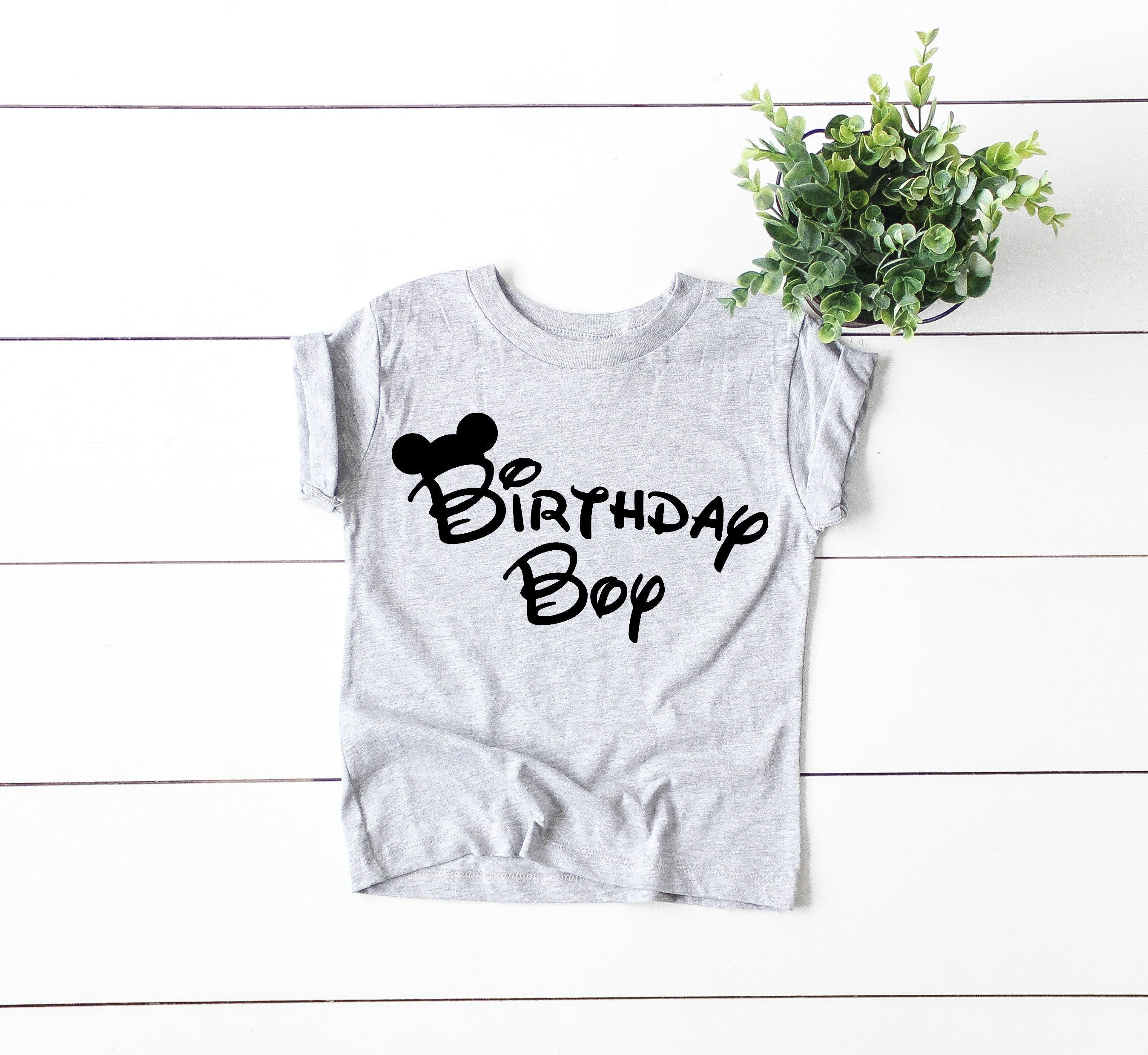 Birthday Boy Mickey Mouse Ears Graphic Tee Disney Shirt