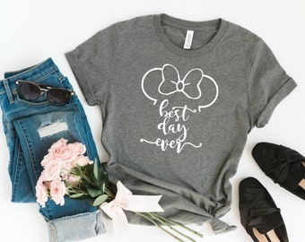 Minnie Ears Best Day Ever Disney Graphic Tee, Disney Shirts, Disney Tees, Women's Disney T-Shirt, Mouse Ears, Matching Family Disney Tees