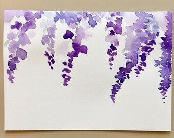 Wisteria Purple Flower Watercolor Card- Floral Greeting Card, Watercolor Painted Card, Hand Made, Hand Painted, Card, Stationary