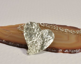 Heart Pendant, Reticulated Sterling Silver Pendant,