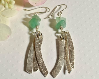 Sterling Silver Earrings with Green Aventurine Beads