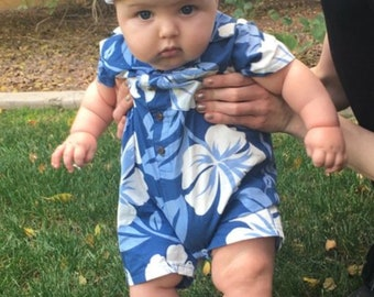 08394e736b0b Baby Toddler Boy Hawaiian Aloha Romper Optional Hat Shower Gift Onesie Infant  Toddler Summer Tropical Shirt - Custom
