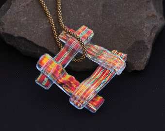Red & Gold striped layered square dichroic fused glass pendant.