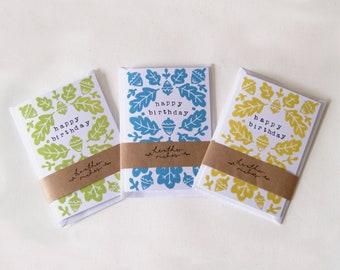 Acorn & Oak Leaves Lino Print Greetings Card - Blank Cards Stamped Personal Message