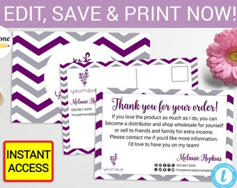 Younique Thank You Postcards Printable Digital Printed Personalized