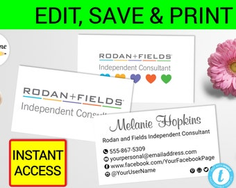 Rf business card etsy rodan and fields business card template printable r f cards r f card rf business card hearts rf card rf business card rodan fields cards fbccfo Choice Image