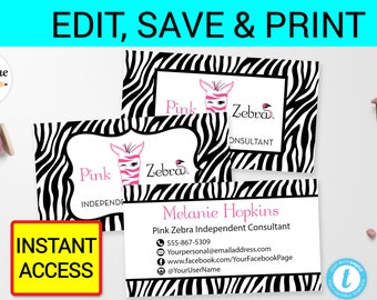 Zebra business card etsy pink zebra business card template printable digital printed personalized independent consultant cards zebra stripes instant pdf jpg templett reheart Images