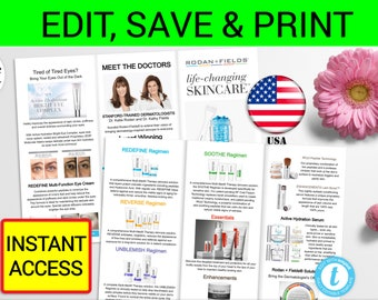 Rodan and Fields Brochure Printable Rodan Fields Flyer Personalized Rodan and Field Tri-Fold Brochure Rodan Field Business R and F Marketing