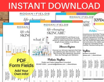 Rodan and Fields Flyer Tear Off Tabs Rodan Fields Marketing Flyers Instant Download Rodan Fields Advertising Template Tear-Off Flyer Sheet