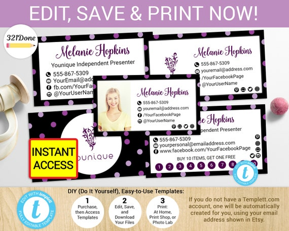 Younique business card printable younique cards template etsy image 0 solutioingenieria Image collections