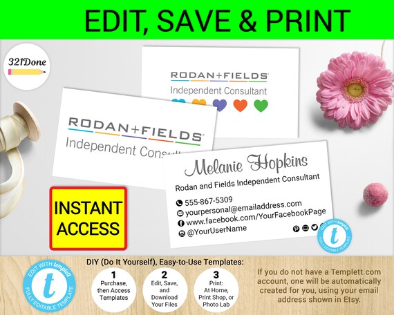 Rodan and fields business card template printable r f cards r etsy image 0 accmission Image collections