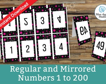 Facebook Live Numbers Cards Reverse Forward Mirrored 1 to 200, Reversed Backwards Backward Bundle Set Package Printable Number DFBL501