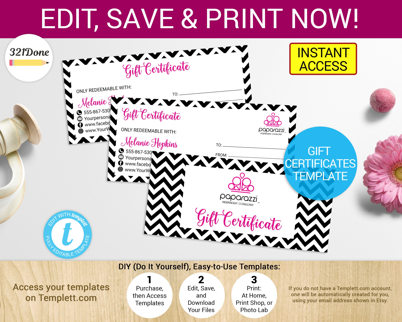 printable paparazzi gift certificate paparazzi coupon etsy
