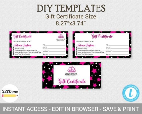 paparazzi gift certificate paparazzi coupon paparazzi etsy