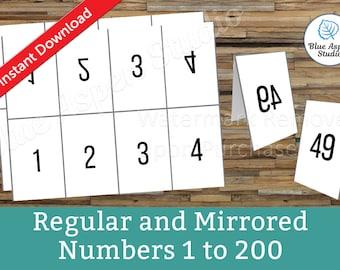 Facebook Live Numbers Cards Reverse Forward Mirrored 1 to 200, Reversed Backwards Backward Bundle Set Package Printable Number DFBL502