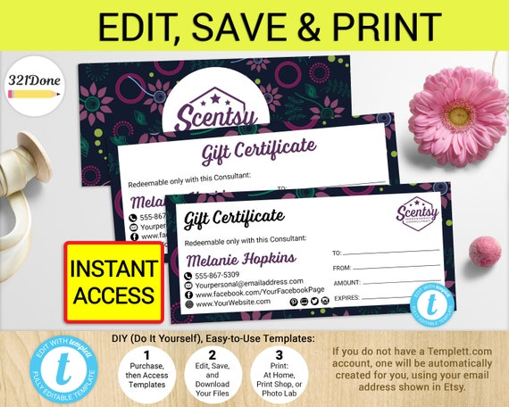 scentsy gift certificates printable authorized scentsy vendor etsy