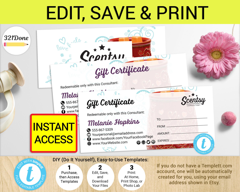 Scentsy Gift Certificates Printable Authorized Scentsy Vendor   Etsy