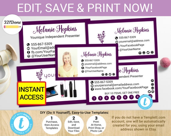 younique business card printable younique cards template etsy